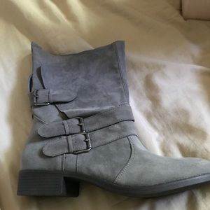 Grey booties faux suede never worn with box
